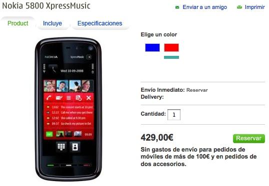 Nokia 5800 XpressMusic İspanya'da ek servislerle 429 ?'ya satılacak
