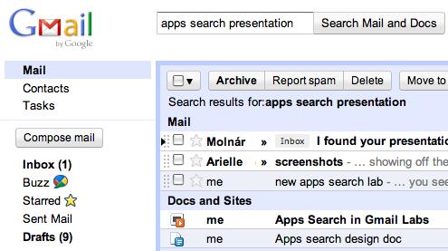 gmail apps search lab Google Gmaile e posta ve belgeler içinde eşzamanlı arama özelliği ekledi