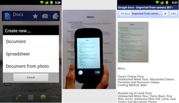 google docs android market Google Dokümanların Android uygulaması optik karakter tanıma özelliğiyle geldi