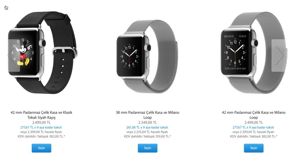apple watch fiyatları