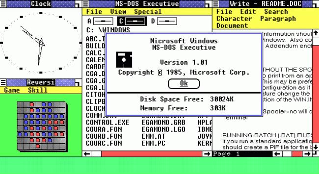 Windows Sürümleri Windows 1.0