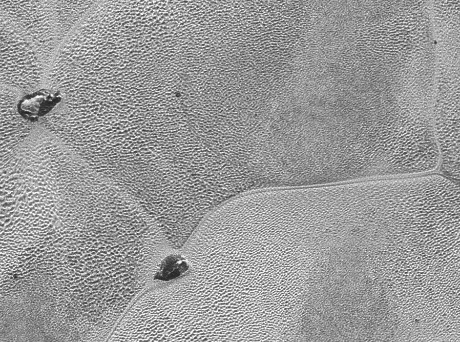 Sputnik Planum'dan bir görüntü: Kirli buzdağları daha yoğun nitrojen içinde yüzüyor