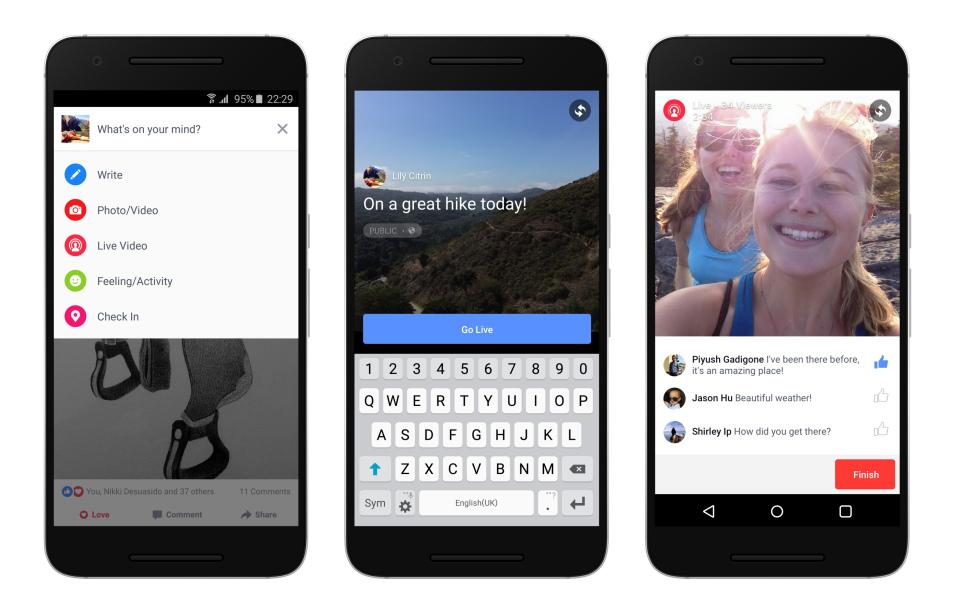 facebook canli yayin android
