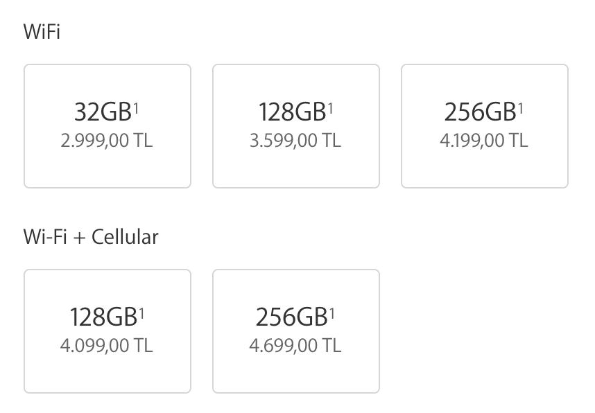 12.9 inç iPad Pro fiyatları yukarıdaki gibi veriliyor
