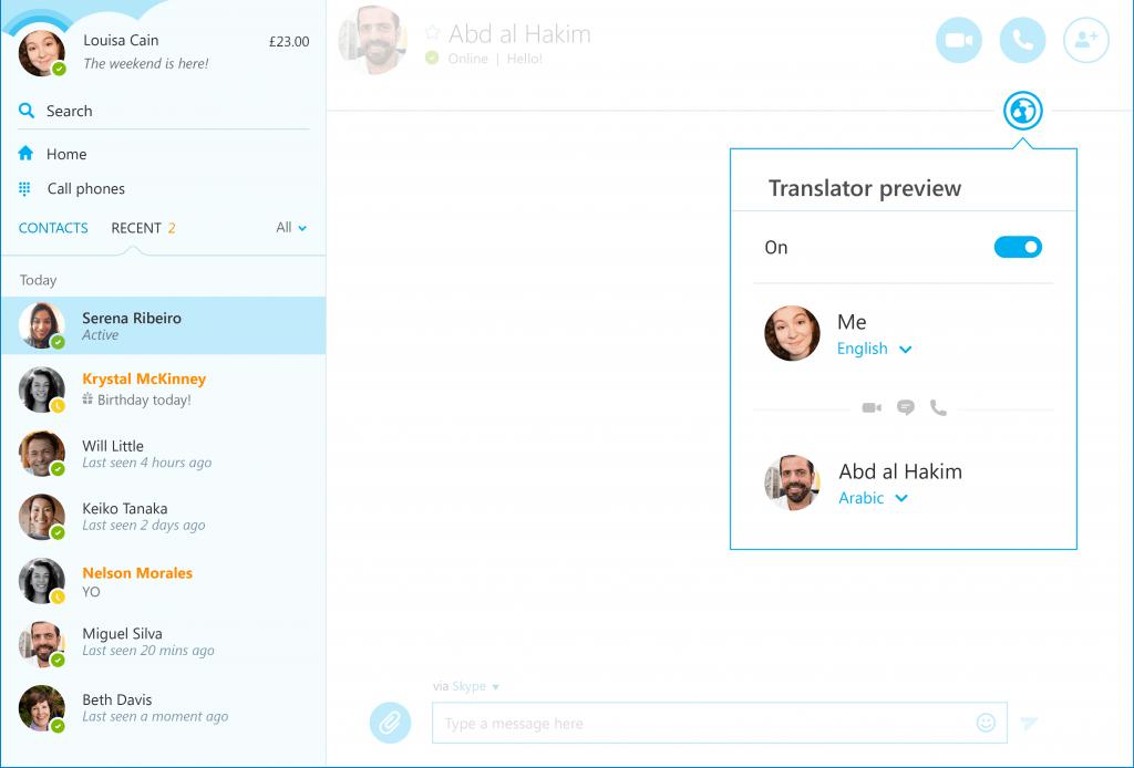 skype translator arapca