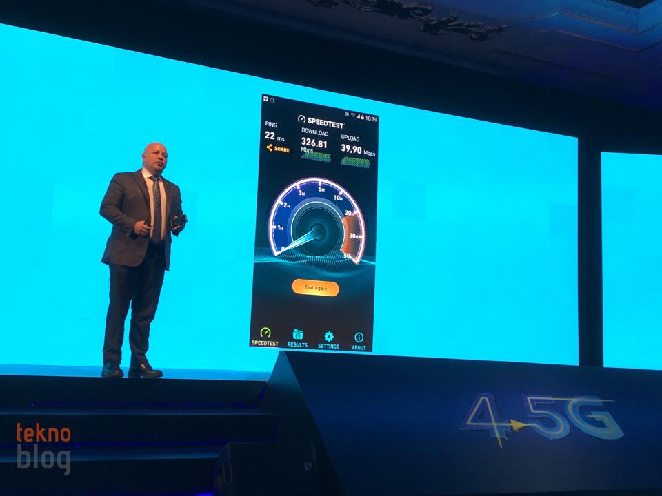Turkcell 4.5G hız testi de gerçekleştirildi