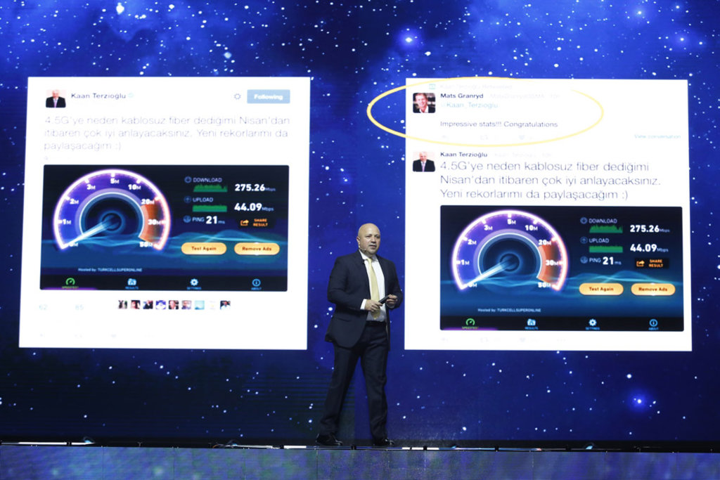 Kaan Terzioğlu, testler sırasında 275 Mbps'lik gerçek indirme hızına ulaştıklarını ve bunu da Twitter'dan paylaştığını belirtti.