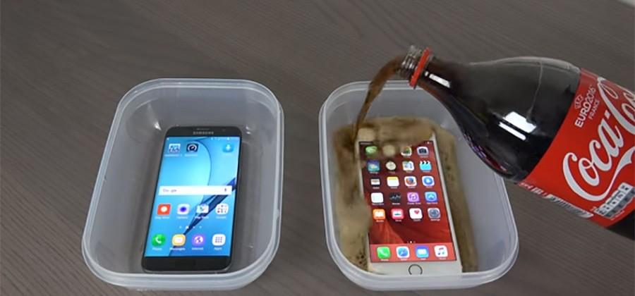 galaxy s7 edge iphone 6s plus dondurulmuş kola testi