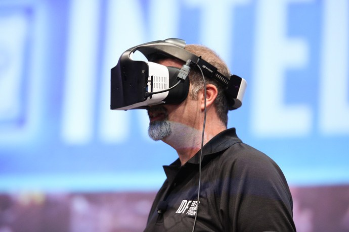 Intel?s Craig Raymond displays the Project Alloy virtual reality headset during the Day 1 keynote at the 2016 Intel Developer Forum in San Francisco on Tuesday, Aug. 16, 2016. Intel CEO Brian Krzanich?s keynote presentation offered perspective on the unique role Intel will play as the boundaries of computing continue to expand. (Credit: Intel Corporation)