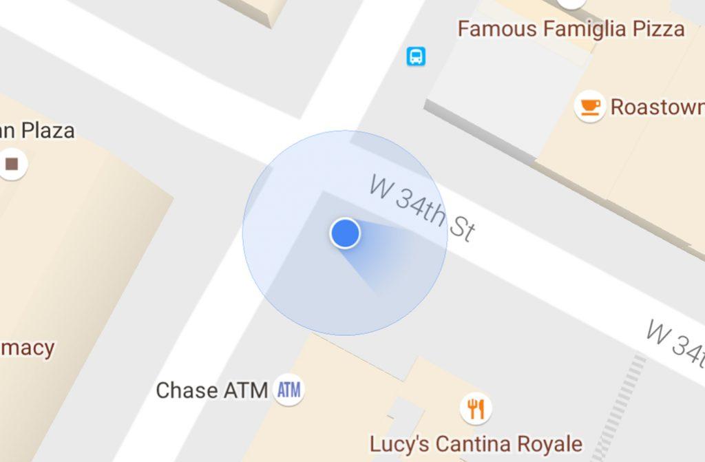 google haritalar mavi isin
