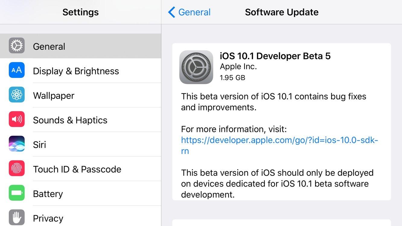 ios 10.1 beta 5