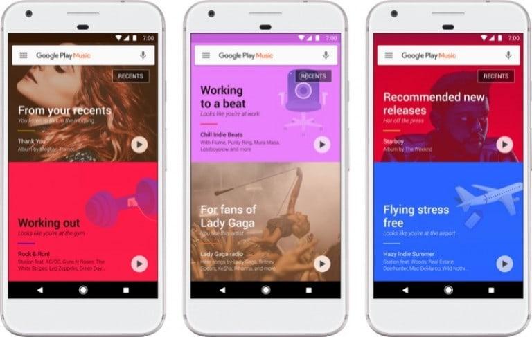 Google Play Müzik yeni tasarımıyla önerilerin üstüne odaklanıyor