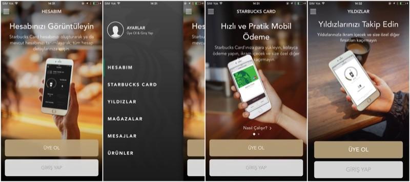 starbucks mobil uygulamasi