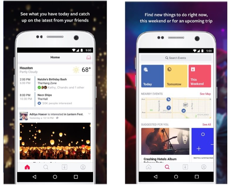 facebook etkinlikler android