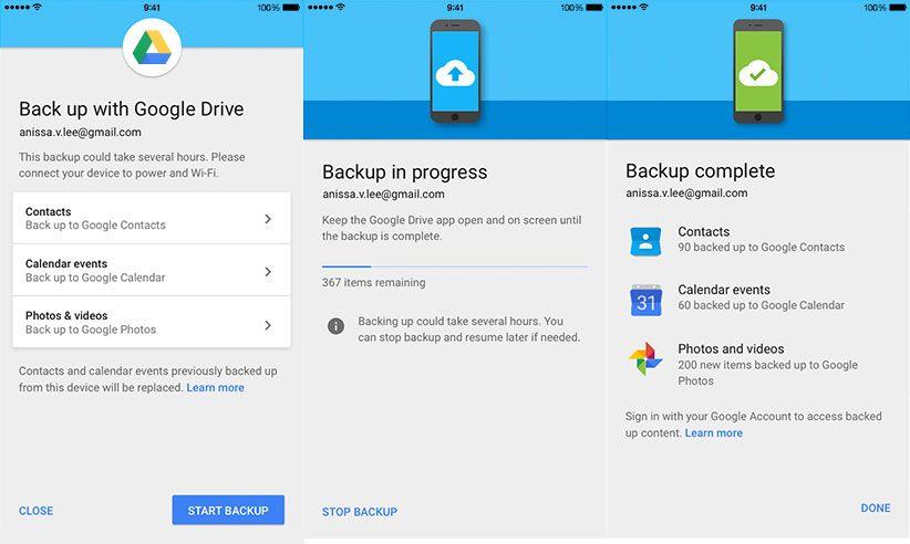 google drive iphone yedekleme