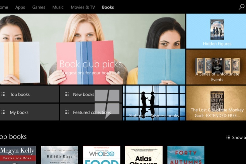 windows 10 e-kitap magazasi