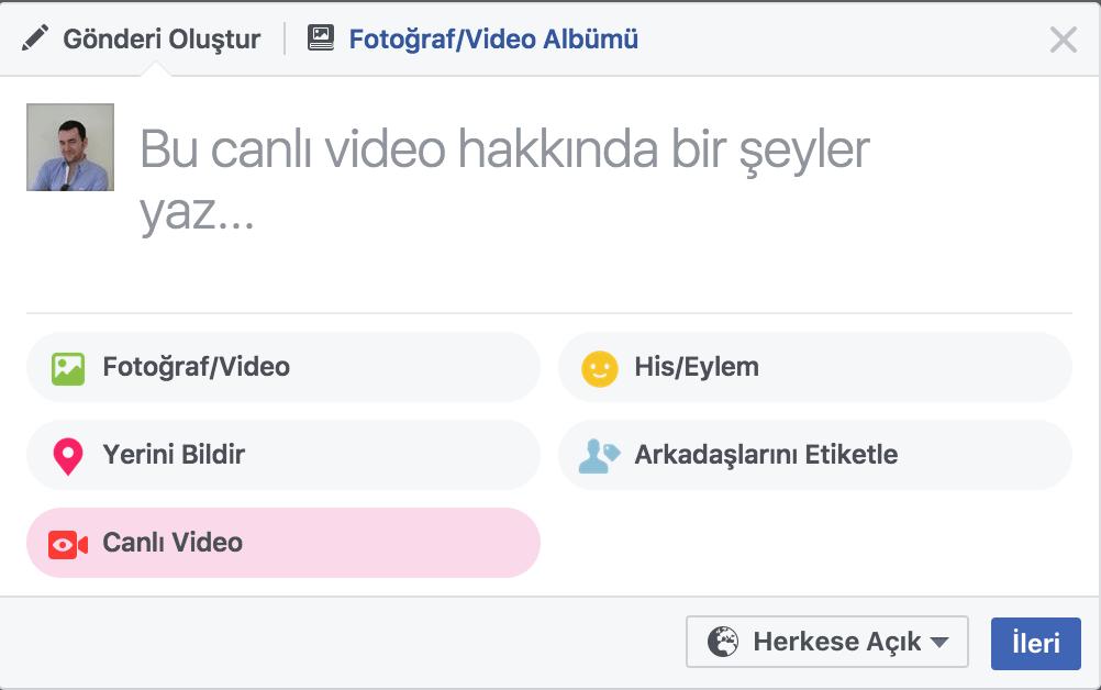 facebook live bilgisayar