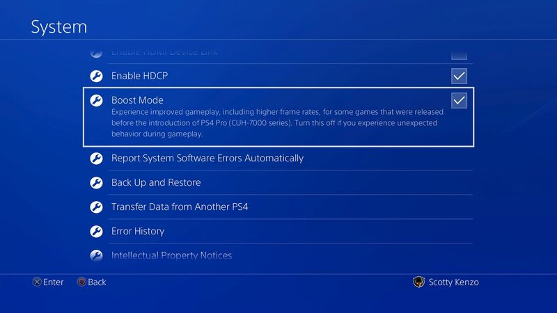 ps4 pro boost mode