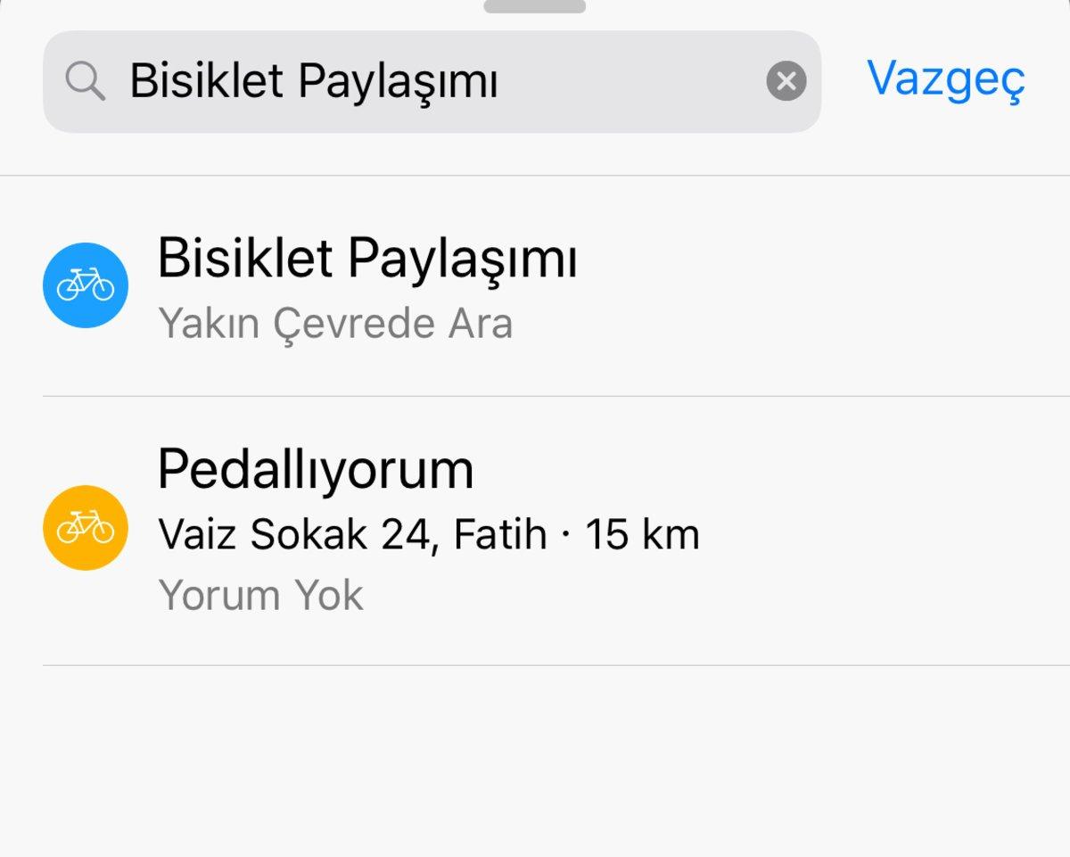 apple haritalar bisiklet paylaşımı