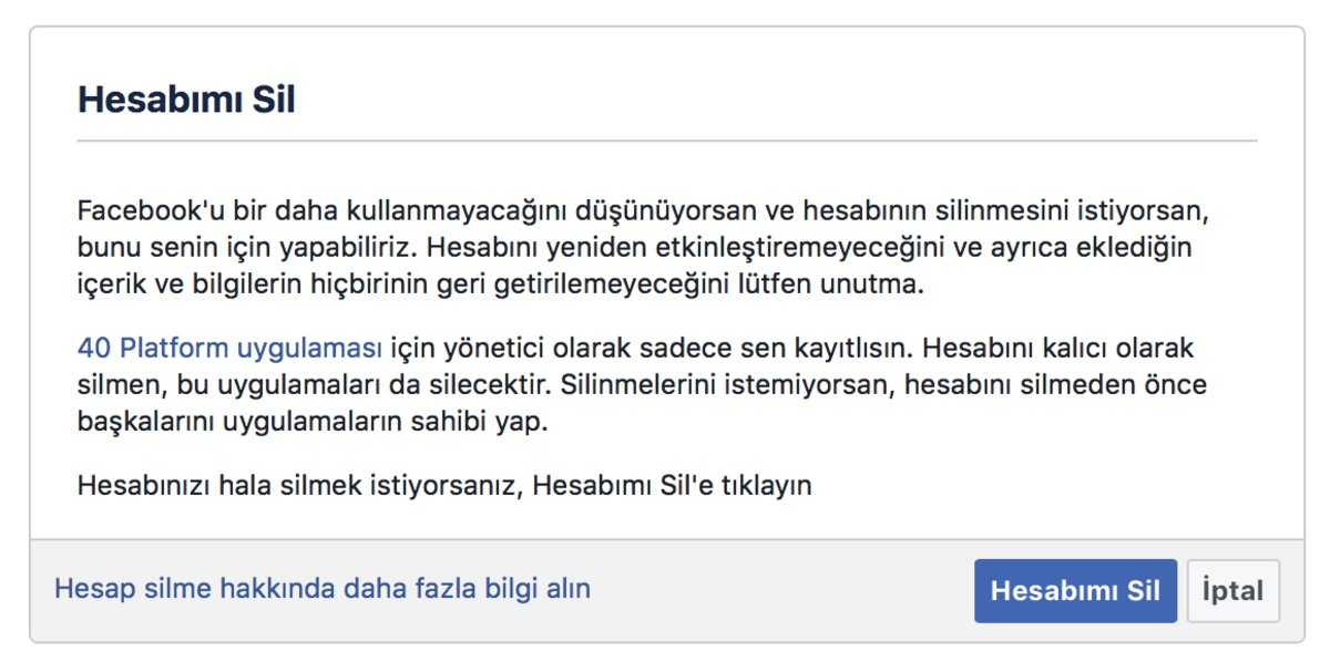 facebook hesabımı sil