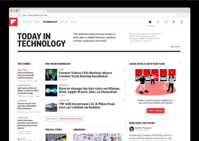 flipboard teknoloji bölümü masaüstü web