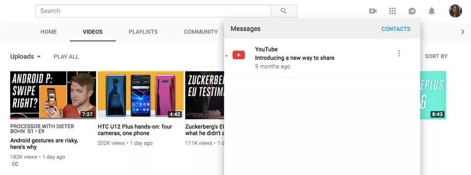 youtube web mesajlaşma