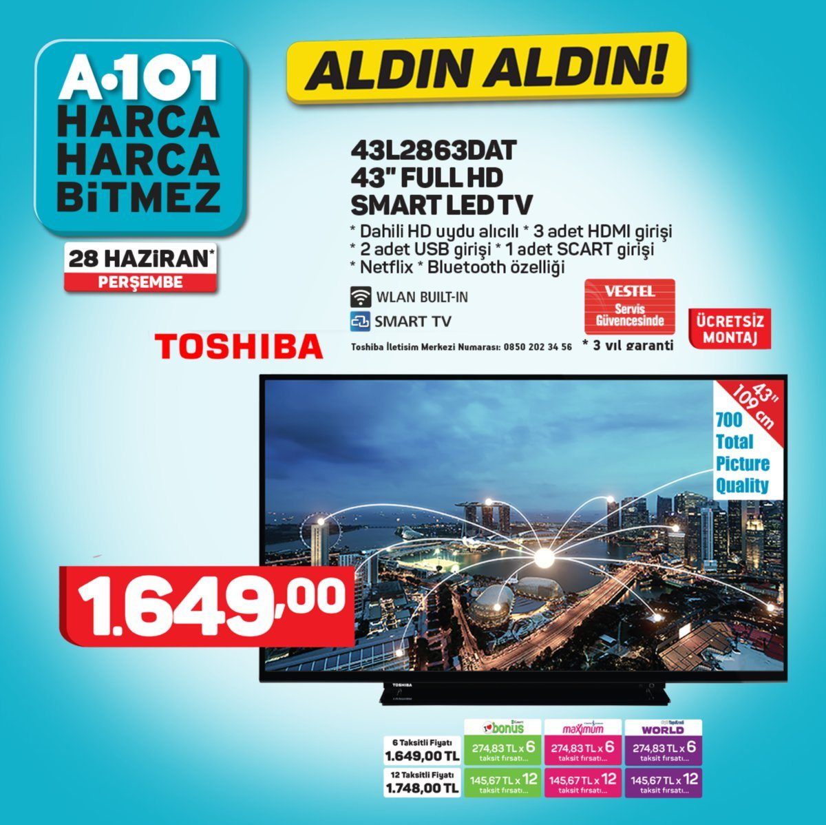 a101 toshiba full hd tv