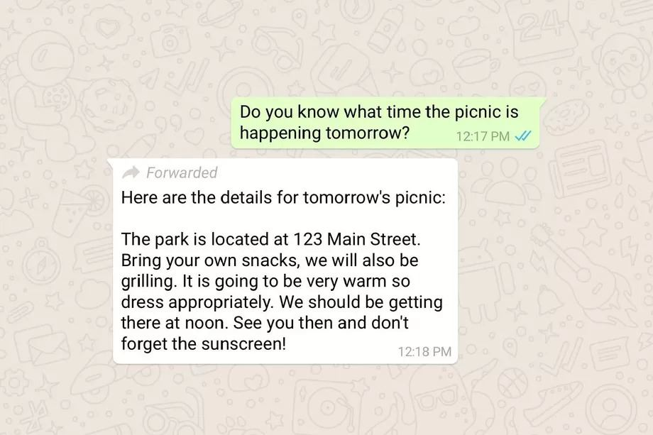 whatsapp iletilmis mesajlari
