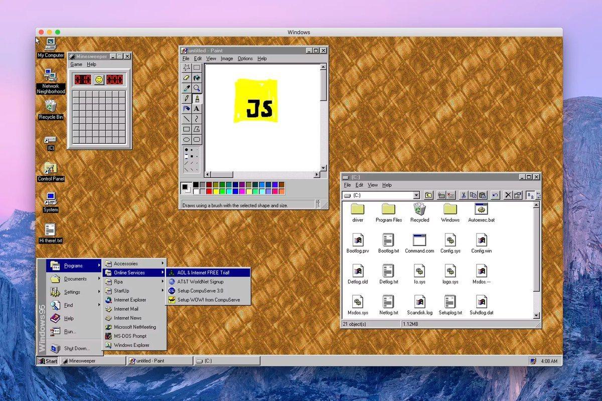 windows 95 uygulama