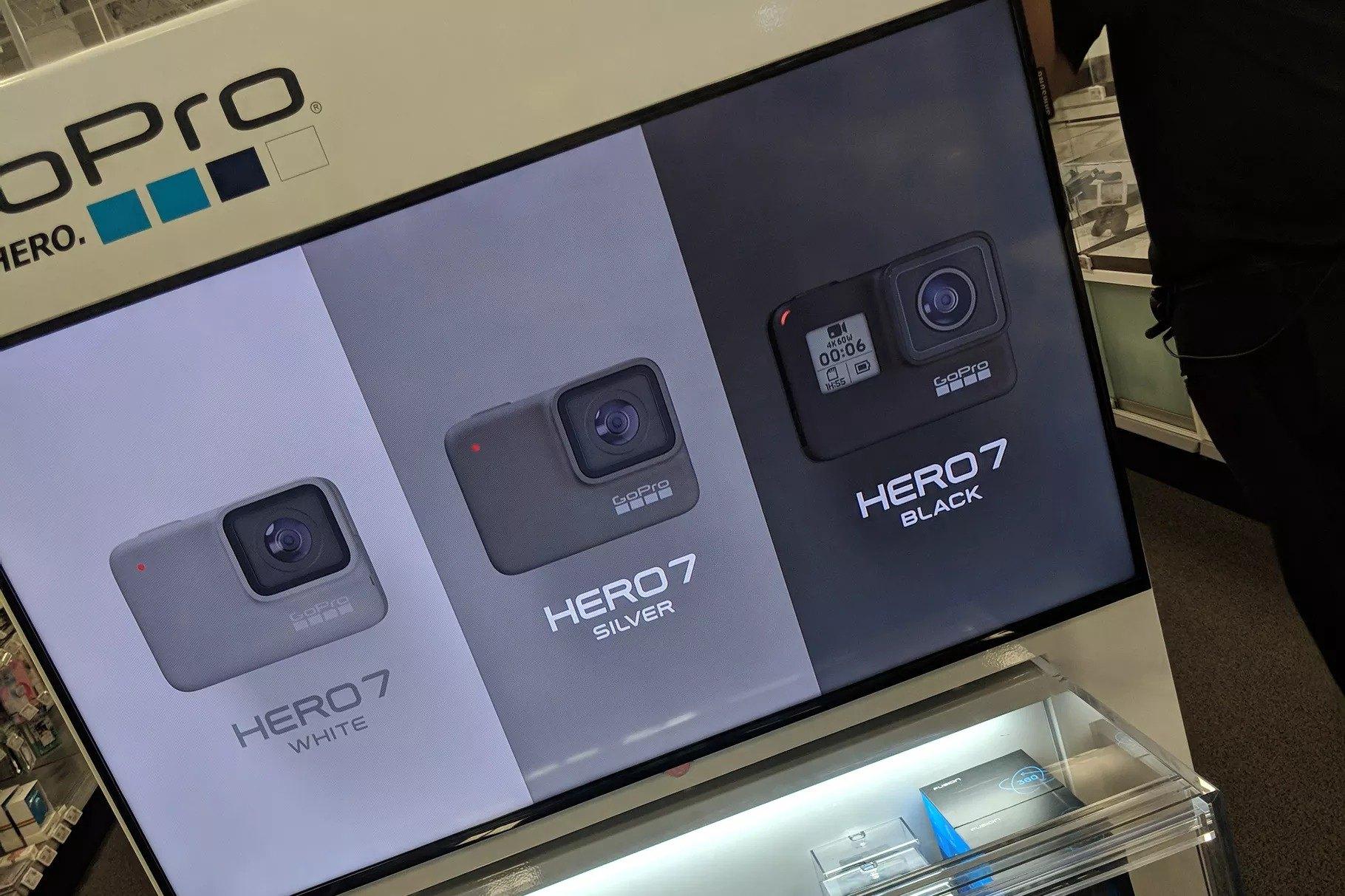 GoPro Hero 7 bir mağazanın tanıtım ekranında görüldü