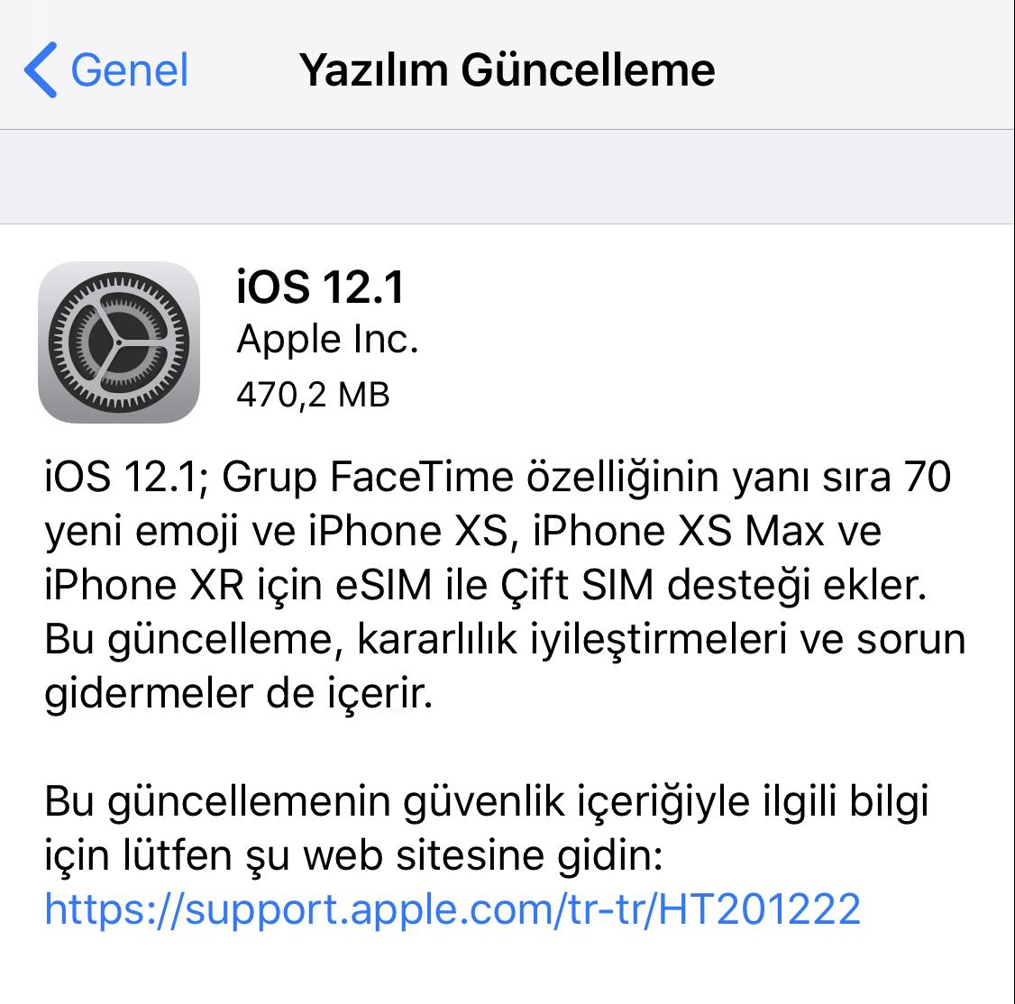 ios 12.1 güncellemesi