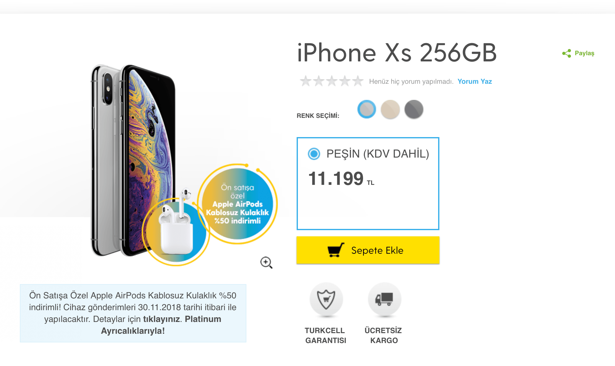 iphone xs 256 gb turkcell