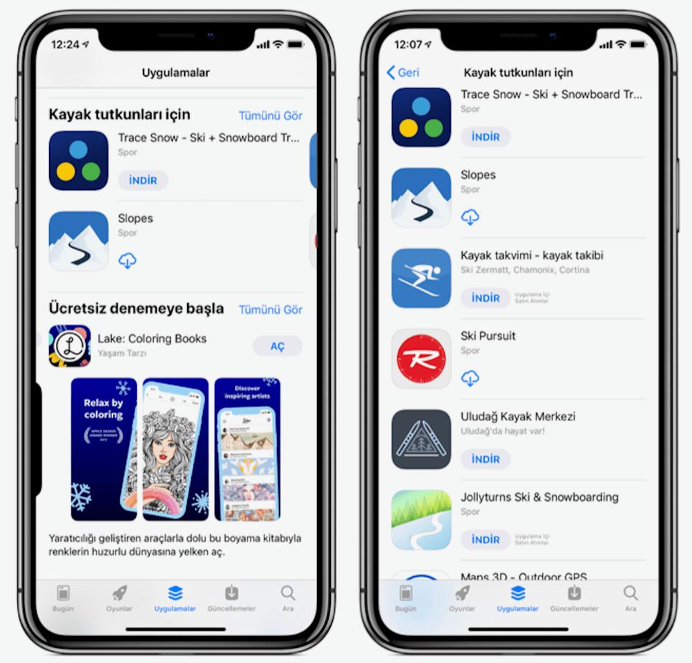 app store kayak uygulamaları