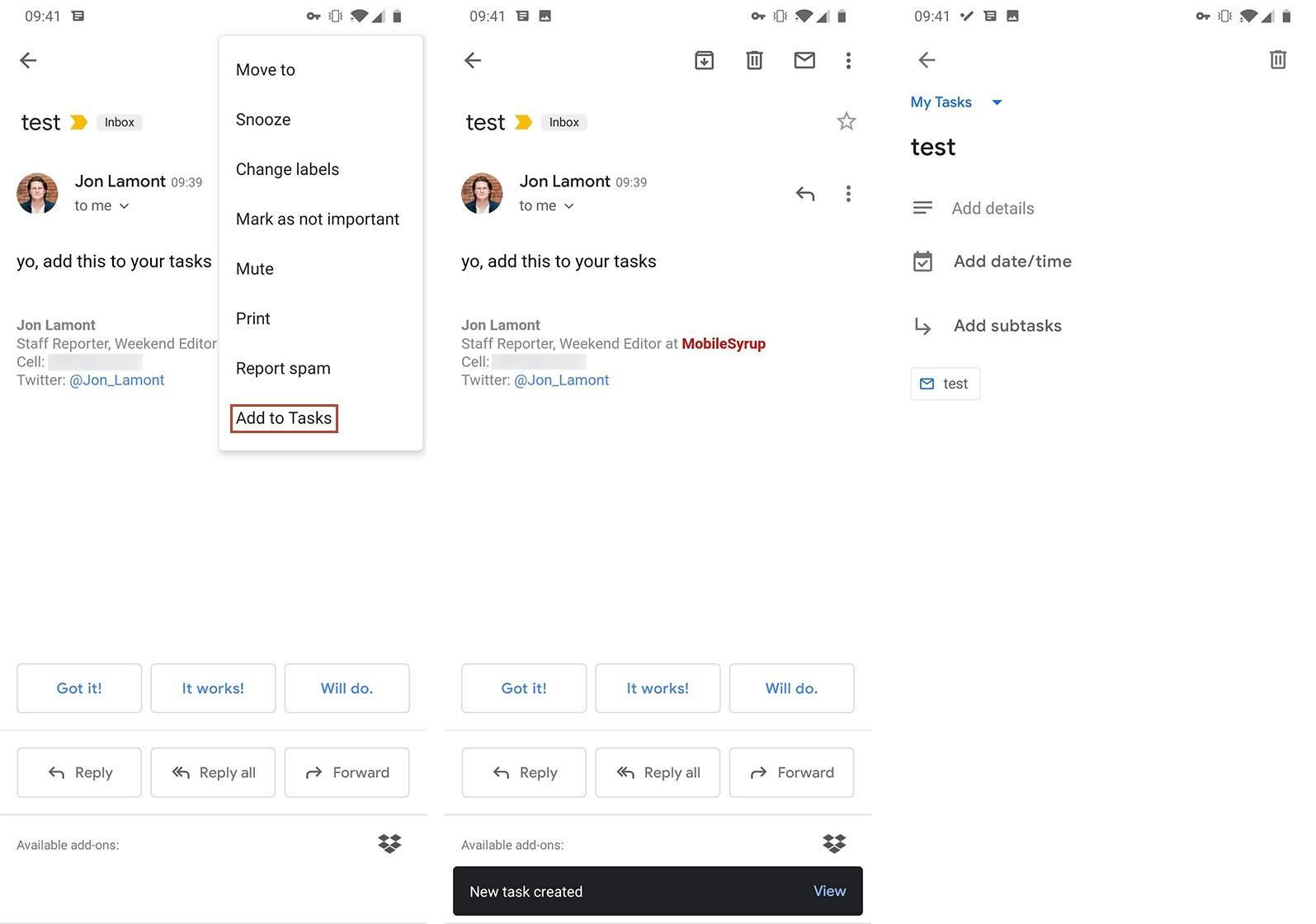 gmail görevler