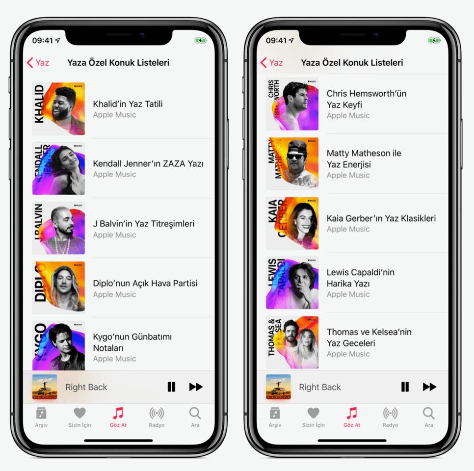 apple music yaza özel sanatçı listeleri