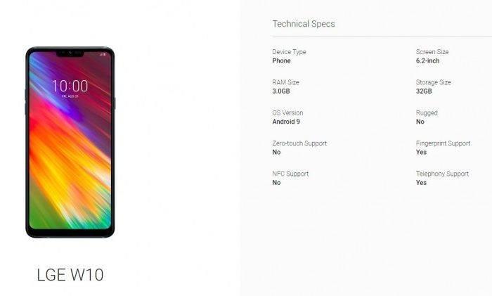 LG W10'un özellikleri Android'in sitesinden sızdı