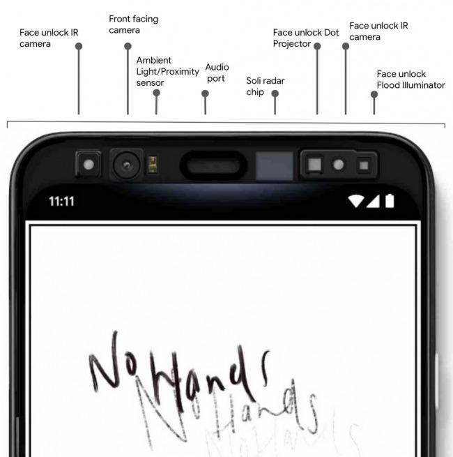 google pixel 4 ekran üstü sensörler