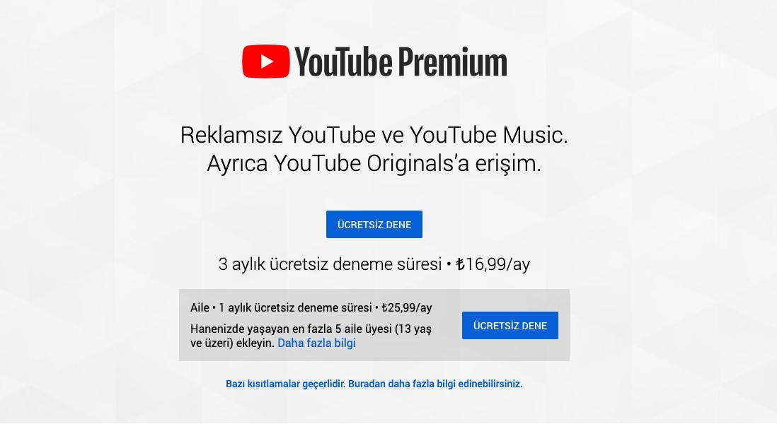 youtube premium türkiye fiyatları