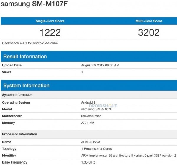 galaxy m10s geekbench