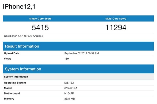 iphone 12,1 geekbench 4