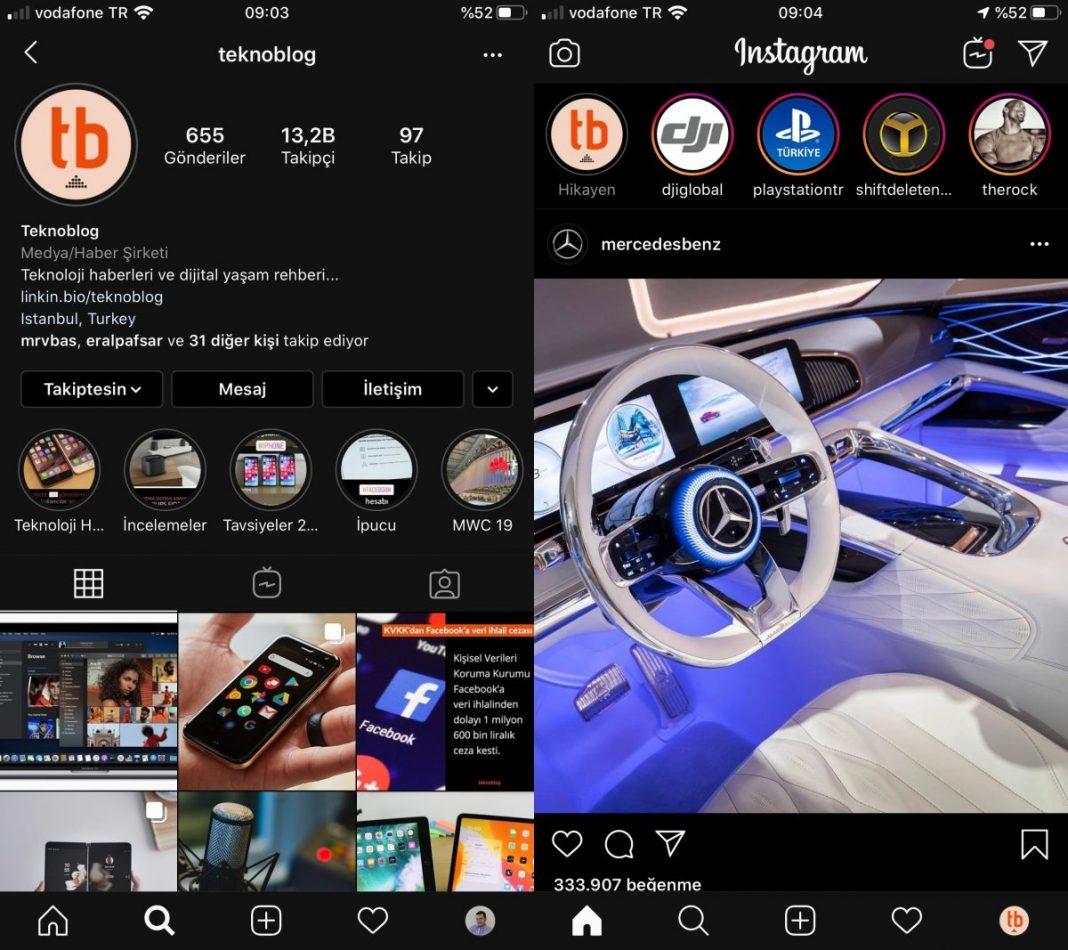instagram iphone koyu mod