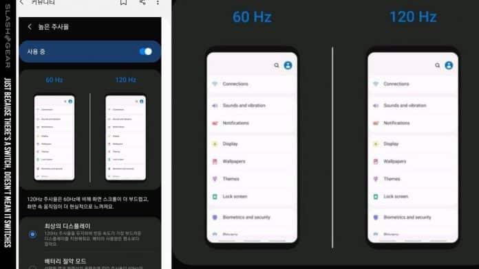 galaxy note 9 one ui 2.0 beta ekran yenileme hızı