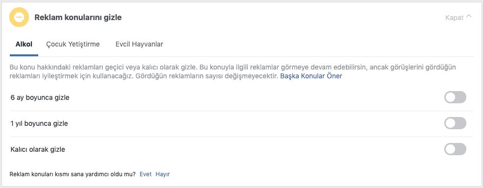 facebook reklamları engelleme