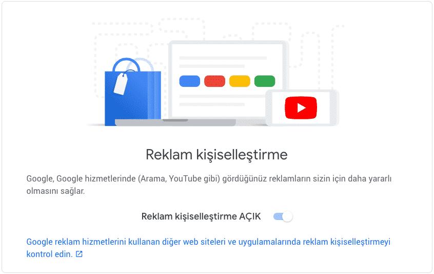 google reklam kişiselleştirme engelleme
