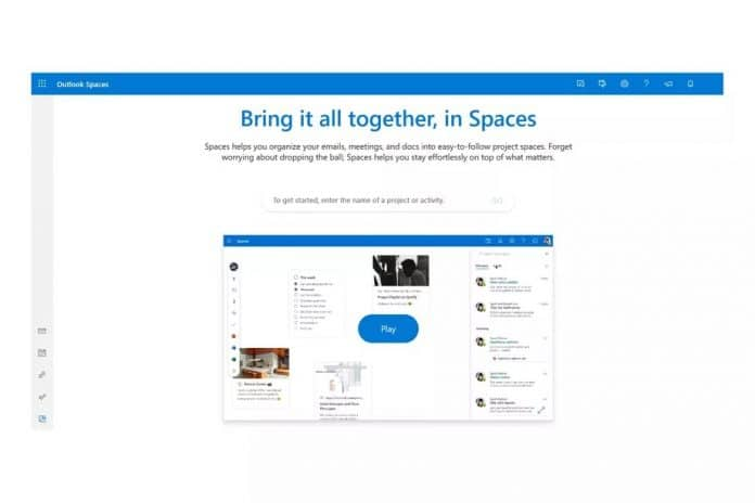 microsoft outlook spaces