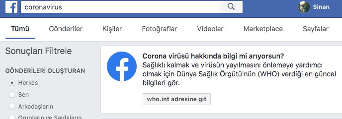 facebook koronavirüs