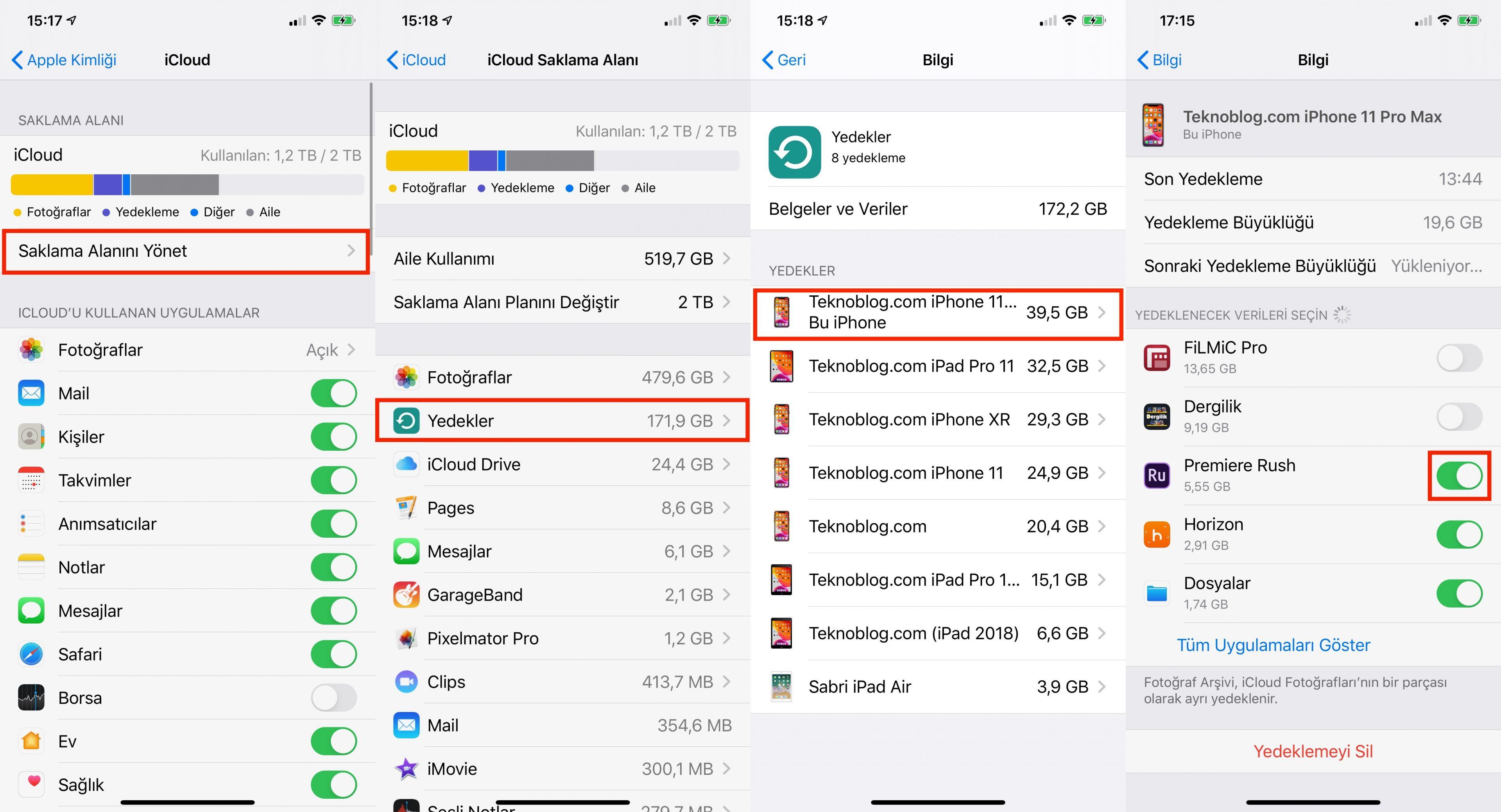 icloud'daki iphone yedeğini bulma ve düzenleme