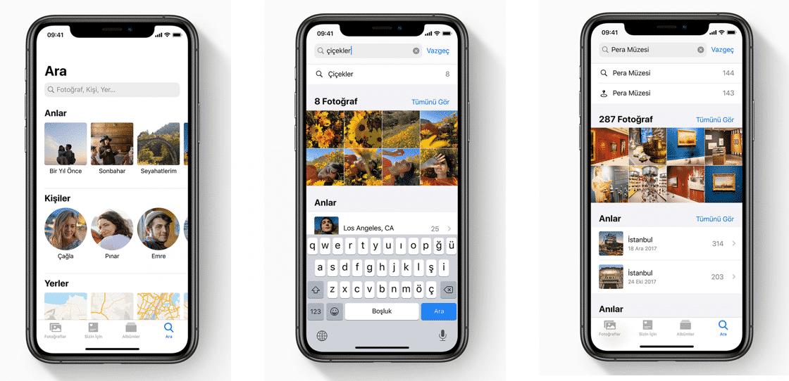 iphone fotoğraflar arama
