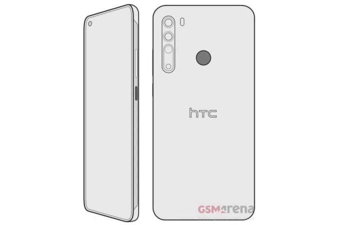 HTC Desire 20 Pro ekranı ve dörtlü arka kamerası çizimde görüldü