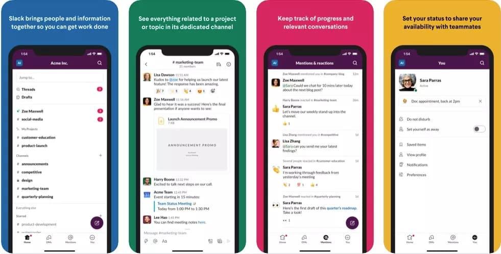 slack ios android yeni tasarım